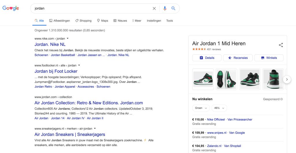 Bovenaan in Googel met Jordan